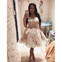 Wholesale dress black mini pearl - 2018 Short Ball Gowns Homecoming Dresses Off The Shoulder Lace Appliques Pearls Mini Cocktail Party Dresses Gown