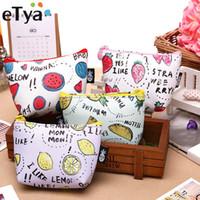 koreanische schlüsselbeutel großhandel-eTya Koreanische Damen Cartoon Geldbörse Brieftasche Mädchen Reißverschluss Münze Brieftasche Kinder Obst Druck Mini Key Card Pouch Tasche für Kinder