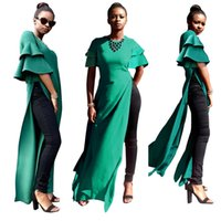 ingrosso cravatta verde vestiti donne-Hunter Green High Side Split Sexy Abiti da festa donna 2018 New Ruffles Puffy Sleeves Crew Neck Una linea Long Casual Maxi Dress Immagine reale