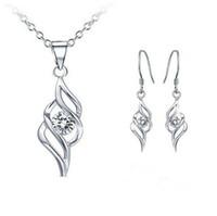 cristal de diamante suizo al por mayor-Pendientes del collar de cristal suizo de las mujeres conjunto alas de ángel conjunto de joyas clásico Swarovski Elements Wedding Dinner Party Jewelry