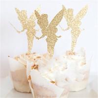 pastel de fiesta de hadas al por mayor-Pick Angel Fairy Shape Marca Glitter Paper Wedding Birthday Party Favor Decoración Cake Topper Ballet Lovely Postre Plug 3 5rb jj