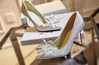 fine leather accessories 2018 - Sliver Bridal Shoes 2018 Show Wind Crystal Wedding Party Shoes Pointed Fine with High-Heeled Ladies Shoes Bridal Accessories