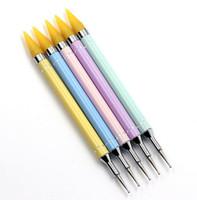 ingrosso raccoglitore di arte del chiodo-New Beauty Dual-ended Chiodo Punteggiatura Perle di cristallo Maniglia Perni con strass Picker Wax Pencil Manicure Nail Art Tool