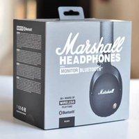ingrosso auricolari dj-Marshall Monitor Bluetooth Cuffie pieghevoli con microfono in pelle a cancellazione di rumore Deep Bass Auricolari stereo Monitor DJ Hi-Fi Cuffie telefoniche