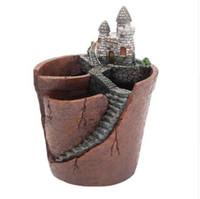 ingrosso vasi da giardino della resina-NOVITÀ Castle Flower Pots Resin Flowerpot Pianta grassa Pots Fairy Garden Bonsai Planter