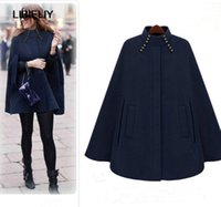 Wholesale Women Nice Winter Coats - Fashion Poncho Nice Autumn Winter Brown Navy Cashmere Hooded Cape Coat Women Cloak Casacos Femininos Manteau Femme