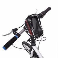 sacoche de vélo achat en gros de-PU imperméable à l'eau de vélo de route sac avant de vélo de montagne téléphone à écran tactile cadre sac équitation à vélo avant de tube sac de téléphone cas