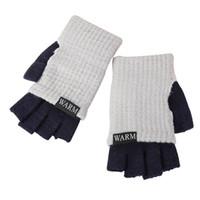 gants coréens mitaines achat en gros de-Gants en laine demi-doigts pour hommes hiver chaud épaissir 2018 mode coréenne adultes tricot poignet mitaines