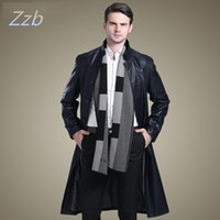 Wholesale Zipper Design Trench Coat - Stand collar Suit Collar long design leather clothing sheepskin overcoat male extra long Leather trench Coat man manteau de cuir