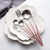 ingrosso forchette occidentali-Spedizione gratuita in acciaio inox 304 posate set cucchiaio forchetta coltello tè cucchiaio in acciaio inox da tavola set di stoviglie di lusso set cultura occidentale