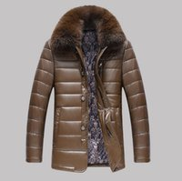 Wholesale Men S Real Leather Jacket - Wholesale- High quality Real fur Collar Men leather jacket Winter Thick Warm Middle-aged leather jacket Windbreak coats jaqueta de couro