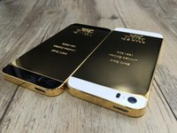 Wholesale 24k gold housing - For Iphone 5 5s 24K 24kt Limited Edition Mirror Gold Back Housing Middle Frame Replacement LOGO&Engraved Word for Iphone 5