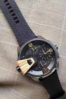 cajas de relojes originales para la venta al por mayor-Venta caliente de lujo DZ7377 reloj para hombre de moda 55 mm gran dial correa de cuero real relojes de calidad superior de cuarzo reloj para hombre + caja original