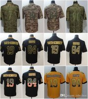 Wholesale 19 lights online - Pittsburgh JuJu Smith Schuster Jerseys TJ Watt Antonio Brown Steelers Salute to Service USA Flag Lights out Black Rush Drift