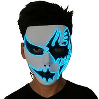 Wholesale el wire white neon for sale - Group buy Three Light Modes EL Wire Ghost Mask LED Light Up Neon Mask For Halloween Scary Cosplay Masquerade Dancing Party Luminous Masks