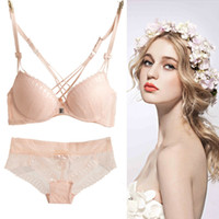 1ecc21a686 Free shipping Fashion sexy cross young girl s bra set autumn front button  push up deep V-neck lace underwear set