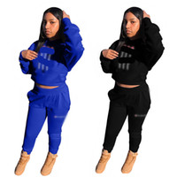 Wholesale cycling jersey set long sleeve women online - Women Casual Autumn Spring Long Sleeve Hoodie Pants Two piece Jogger Set Ladies Tracksuit Sports Sweat Suits Women Clothing
