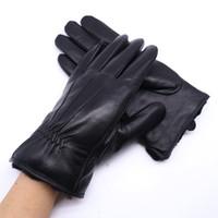 schwarze pelzhandschuhe großhandel-Echtes Leder-Handschuhe der Männer echtes Pelz-Schaffellkörper schwarze Touch Screen Handschuhe-Knopf-Art- und Weisemarken-Winter-warme Handschuhe neu