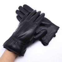 настоящие овчинные перчатки оптовых-Men's Genuine Leather Gloves Real Sheepskin Fur body Black Touch Screen Gloves Button Fashion  Winter Warm Mittens New