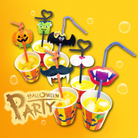 Wholesale vampire decorations - 12 pcs lot Colorful Halloween theme Party Drinking Straw Pumpkin Vampire Decoration Party Festive Event Supplies PP Straws AAA727