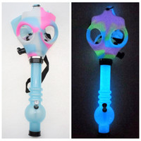 Wholesale mask dark - Gas Mask Bong Both Glow in the Dark Water Shisha Acrylic Smoking Pipe Sillicone Mask Hookah Tobacco Tubes