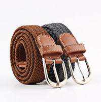 растянутый холст оптовых-Мужские женские ремни красочные холст эластичная ткань тканые стрейч разноцветные плетеные ремни ручной пояс для мужчин AS021KL5