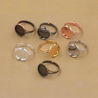 Wholesale Blank Charms - Adjustable Round Cabochon Base Ring Settings Blank Base,Fit 10mm 12mm 14mm 16mm 18mm Glass Cabochons Buttons Ring Bezels