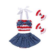 parantez etekleri toptan satış-Kızlar Amerikan Bayrağı Takım Yıldız Etek Çizgili Üst Yaylar Kafa Bandı Amerikan Bağımsızlık Günü Bebek Kız Braces Etek 1-5 T TIANGELTG