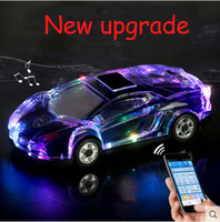 Wholesale portable active bluetooth music player resale online - MLL Colorful Crystal LED Light Car Shape Mini Portable Bluetooth Wireless Speaker Subwoofer Stereo Support USB FM Radio MP3 Music Player