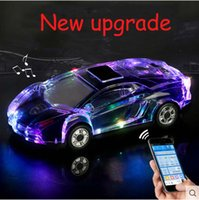 bluetooth hoparlör araba şekilleri toptan satış-MLL-63 Renkli Kristal LED Işık Araba Şekli Mini Taşınabilir Bluetooth Kablosuz Hoparlör Subwoofer Stereo Destek USB FM Radyo MP3 Müzik Çalar