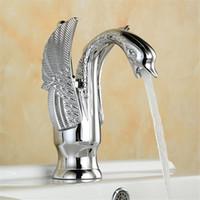 robinets de lavabo uniques achat en gros de-Robinet de luxe de cygne de forme de robinet de bassin de salle de bains mitigeur mitigeur évier d'eau froide