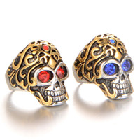 Wholesale finger rings fashion online - Retro Titanium Steel Rings Mens Luxury Brand Designer Creative Finger Ring Personality Skull Shape Jewelry Size Fashion jz jj