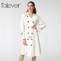 siyah artı boyutu trençkot toptan satış-Talever Sonbahar Kış Trençkot Kadınlar için Ayarlanabilir Bel Ince Katı Siyah Ceket Beyaz Uzun Siper Kadın Giyim Artı Boyutu Y18102301
