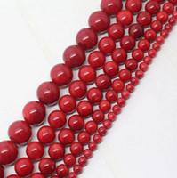 cuentas sueltas de bambú al por mayor-Whoelsale Red Sea Bamboo Coral Beads, joyería de piedras preciosas perlas sueltas, 4 mm 6 mm 8 mm 10 mm 12 mm para la fabricación de joyas 15.5