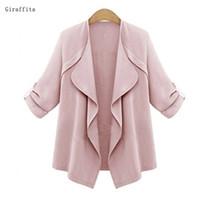 Wholesale Fat Clothing - Giraffita Fashion Jacket Women Thin Coat Fat Loose Cardigan Thin Elegant Plus Size Clothing Female Outwear Shirt Coat