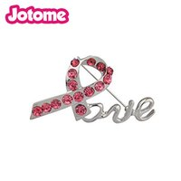 ingrosso accessori rosa-Accessori Lux Pave Pink Crystal Box Breast Cancer Awareness Inspiration Love Pin Spilla
