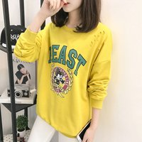 Wholesale korean style casual clothing for sale - new brand fashion clothing autumn female loose cartoon letter printing Korean style hoodies casual long sleeves coat
