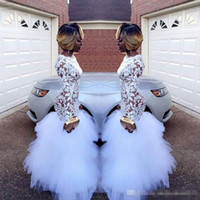 jackets sleeve for prom dresses NZ - 2018 African White Mermaid Lace Prom Dresses for Black Girls Long Sleeves Ruffles Tulle Floor Length Plus Size Evening Prom Gowns Vestidos