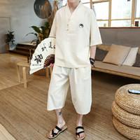 vêtements tai chi xxl achat en gros de-Tai chi broderie Deux pièces set top et pantalon en ligne chinois vêtements pour hommes casual lâche vêtements ensembles