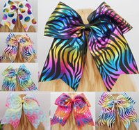 Wholesale Blue Cheer Bows - 7 Inch Cheerleading hair bow Bling Cheer Bows With Elastic Band For Girls 7style available 12pcs