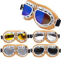 óculos de óculos scooter venda por atacado-Óculos de motocicleta Óculos Óculos Piloto Cruiser Scooter Limpar Fumaça Colorido Prata Amarelo Couro Anti UV Criativo Ao Ar Livre 19cg V