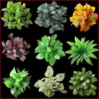 Wholesale bonsai wall - Fashion Artificial Plants For Office Home Decoration Simulation Green Leaf Plastic Vase Bonsai Tropical Fake Succulent Plant New 2 4ct XB