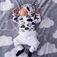 Wholesale cloud clothes for sale - Group buy Fantastic newborn infant baby girl boy cloud print T shirt tops pants hat set outfits clothes suitable for baby M