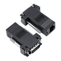 rj45 männlich groihandel-10 Teile / pakete VGA zu RJ45 Extender Adapter CAT5E CAT6 Ethernet Kabel Stecker auf Buchse Konverter 2 Farben Optional