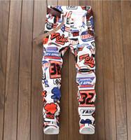 pantalones de piernas grandes al por mayor-2018 otoño moda corea tamaño grande pantalones vaqueros de los hombres de impresión completa pantalones de mezclilla pantalones blancos ocasionales streight pierna pantalones vaqueros envío gratis tamaño 28-38 5615