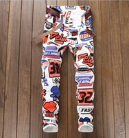 calças grandes venda por atacado-2018 outono moda coreia grande tamanho jeans dos homens de impressão completa jeans calças jeans branco casual streight perna jeans frete grátis tamanho 28-38 5615