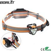 градусный аккумуляторный фонарь оптовых-Boruit G023 Xpe Led 600lm Фара на 360 градусов Поворот налобного фонаря 4 -режимная лампа налобного фонаря для охоты Фронтальный аккумулятор