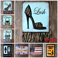 Wholesale british fashion shoe resale online - Wall Art cm Tin Poster High Heeled Shoes Leopard Bags Tin Signs British And American Flags Iron Paintings Fashion ljU BB
