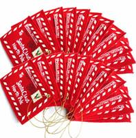 papai noel decorações de árvore de natal venda por atacado-Envelopes de natal Árvore Pendurado Doces Cartões Decorações Mercadorias Carta Para O Papai Noel Sentiu Bordado Ornamento Vermelho 1 1gm dd