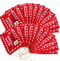 santa claus yılbaşı ağacı süsleri toptan satış-Noel Zarflar Ağacı Asılı Şekerleme Kartları Dekorasyon Malzemeleri Noel Baba Keçe Nakış Süsleme Kırmızı 1 1gm dd